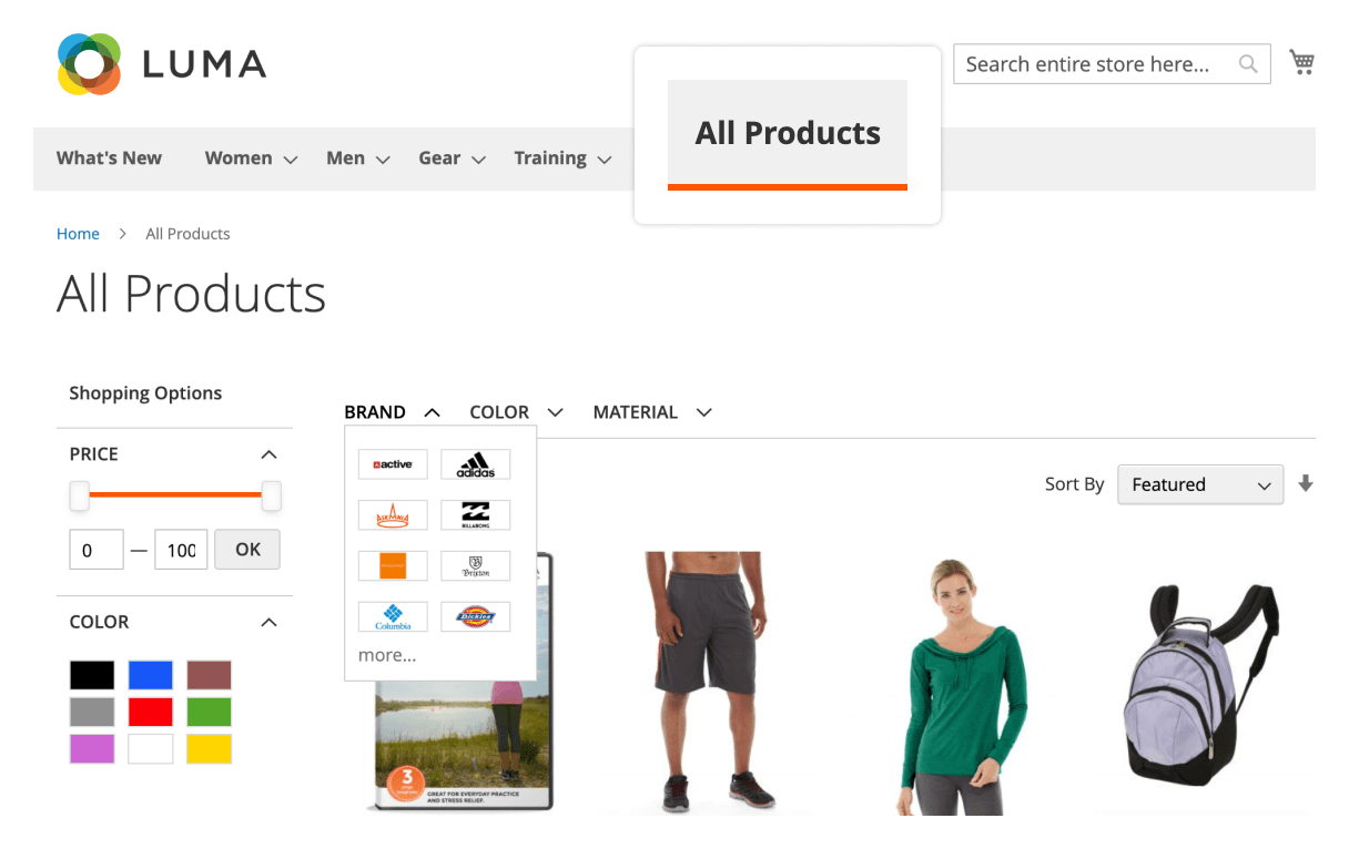 All Product page in Mirasvit Magento 2 Layered Navigation extension.