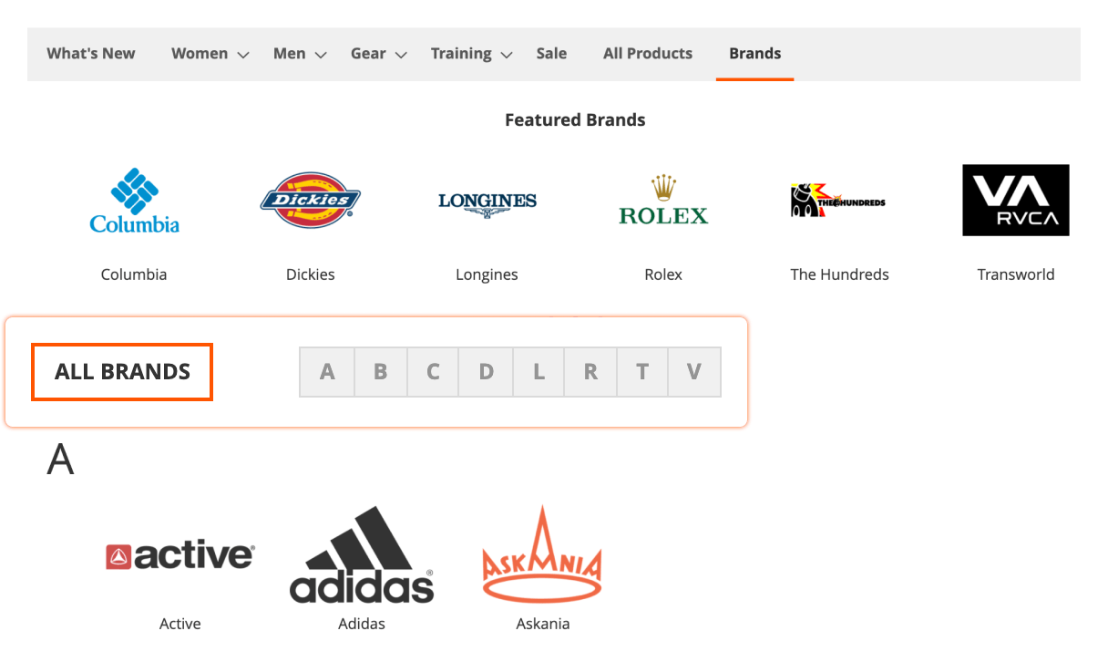 All Brands page in Mirasvit Magento 2 Layered Navigation module.