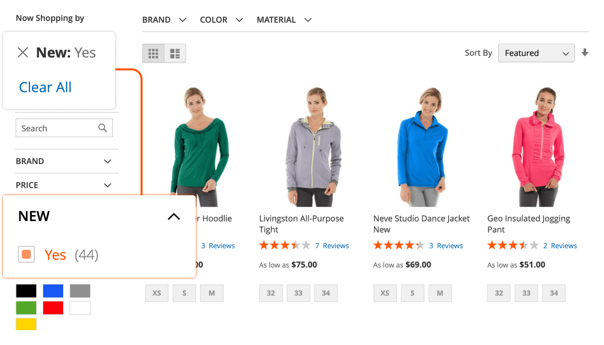 New Products filter in Mirasvit Magento 2 Layered Navigation extension.