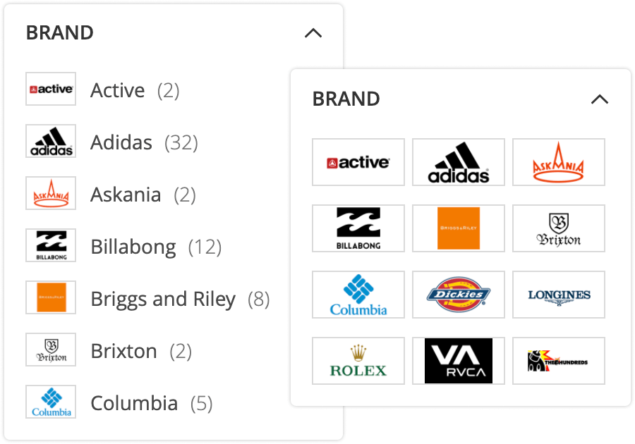 Product filters with images in Mirasvit Magento 2 Layered Navigation module.