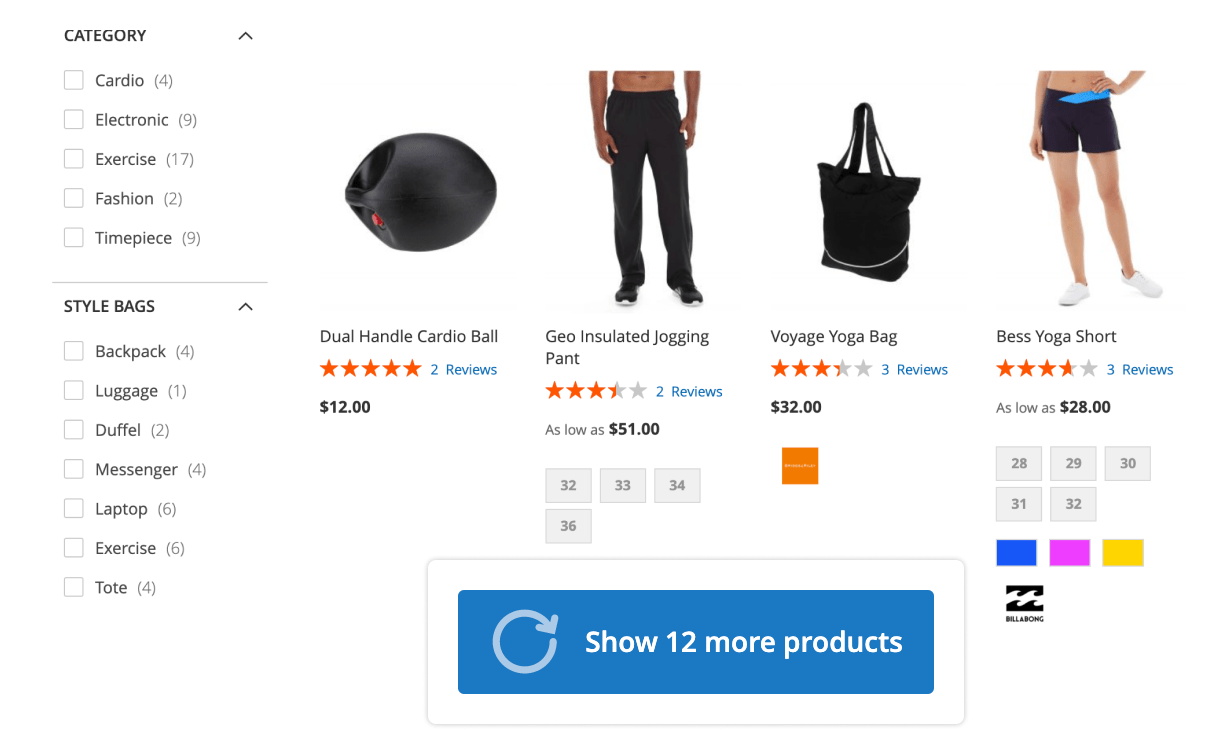 A Load More button in Mirasvit Magento 2 Layered Navigation module.