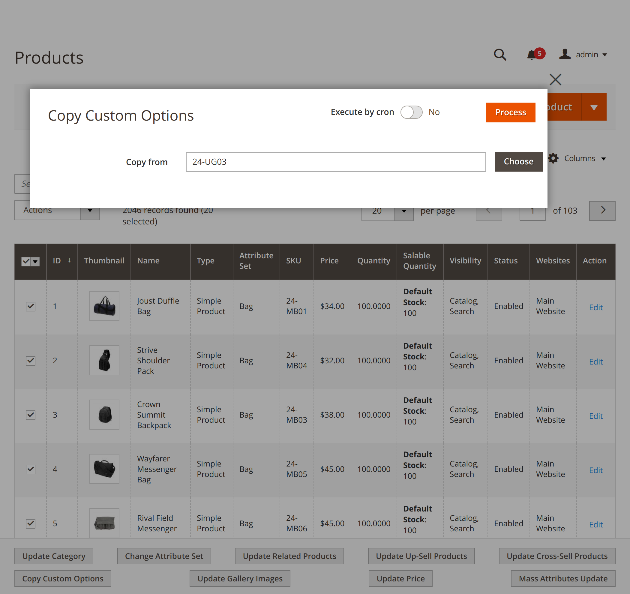 Updating custom product options with Mirasvit Magento 2 Mass Product Action module