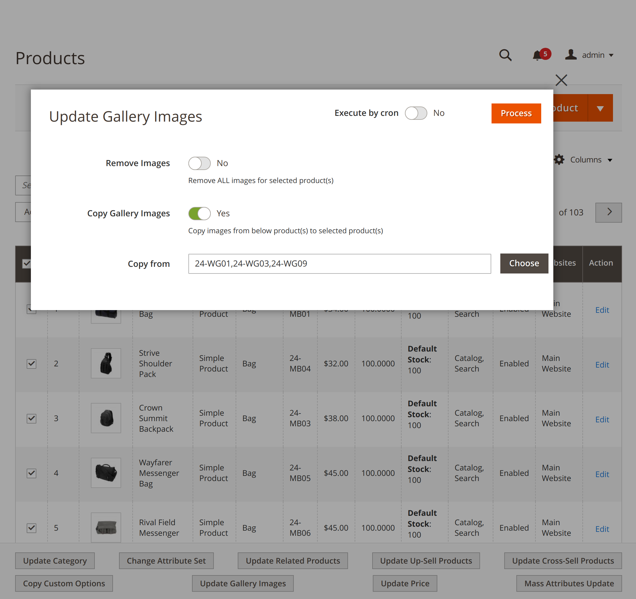 Updating gallery images with Mirasvit Magento 2 Product Mass Action module