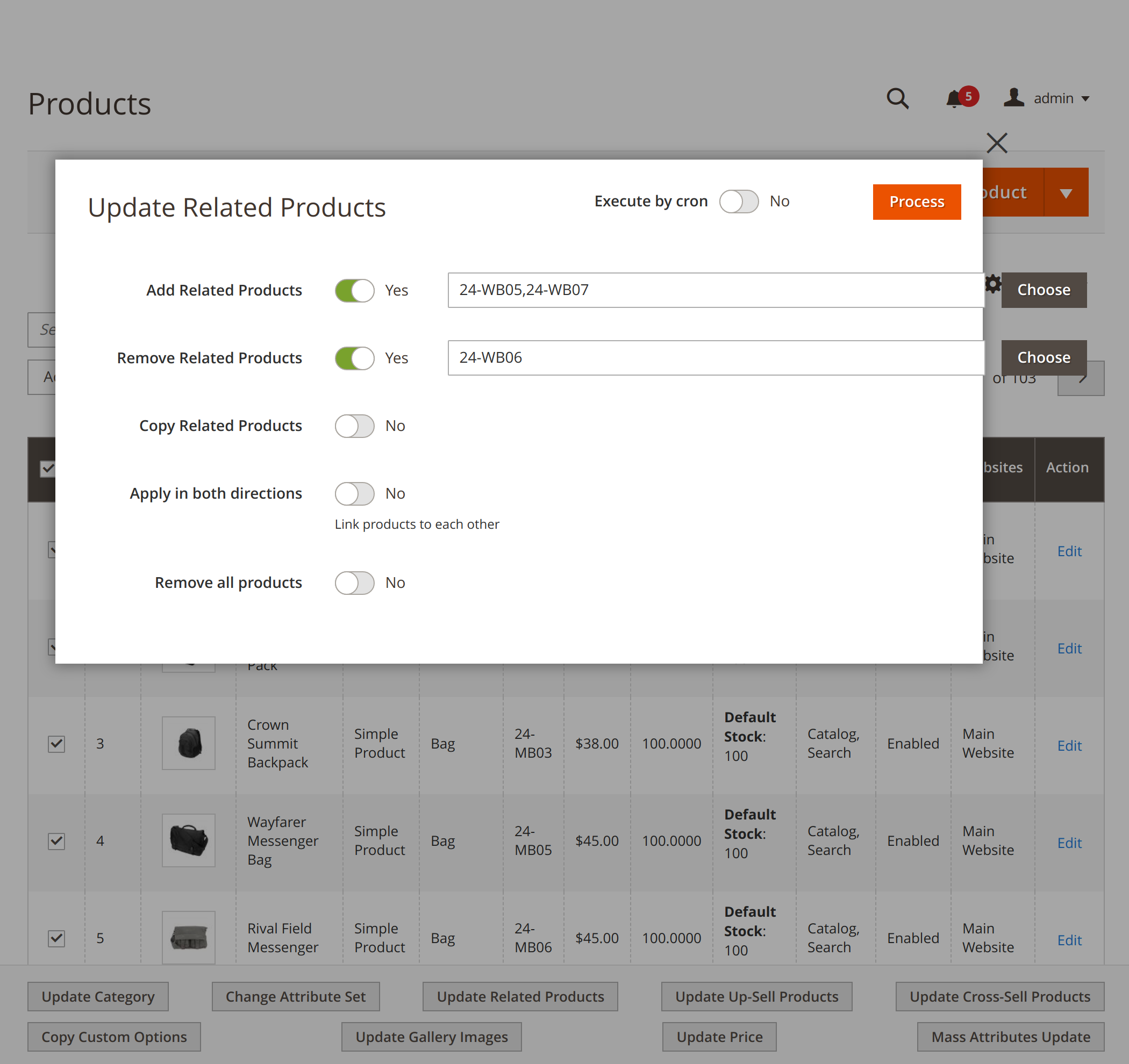 Updating related products with Mirasvit Magento 2 Product Mass Action extension