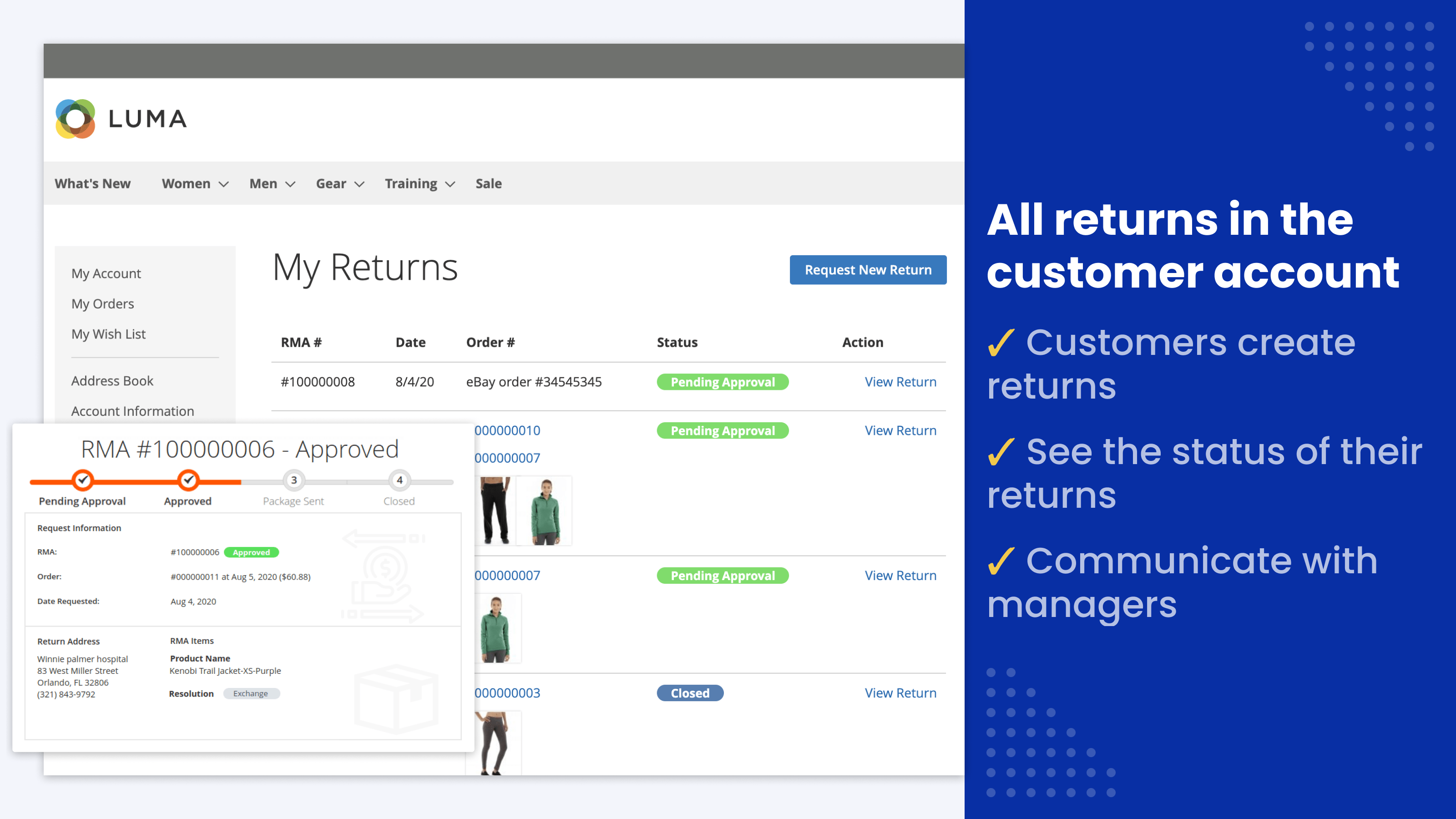 All RMA returns in the customer account