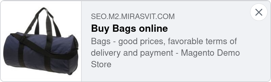 A category page with Opengraph enabled by the Mirasvit Advanced SEO Suite Magento 2 module - the best SEO suite for Magento 2.