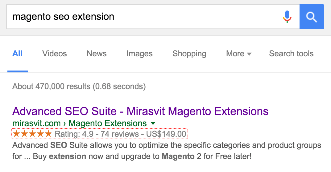 Rich snippets added by Mirasvit SEO Suite Ultimate Extension for Magento 2.