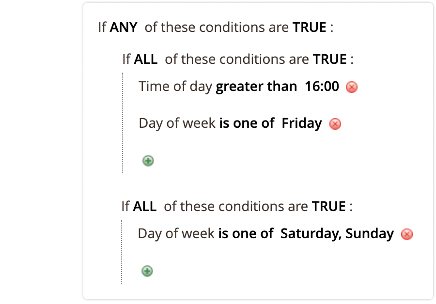 shipping date and time conditions