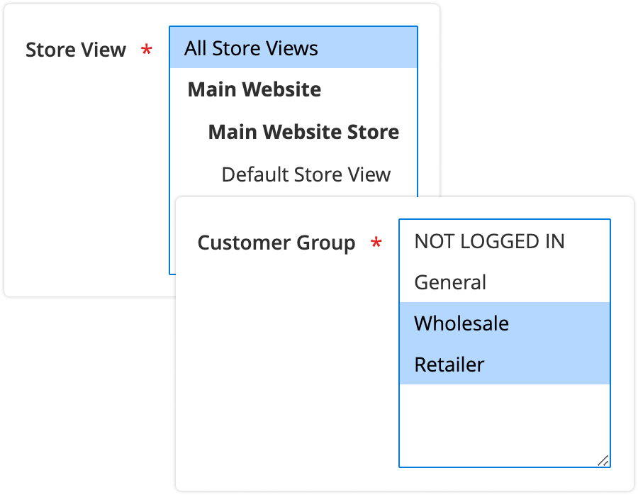 rule store view customer group