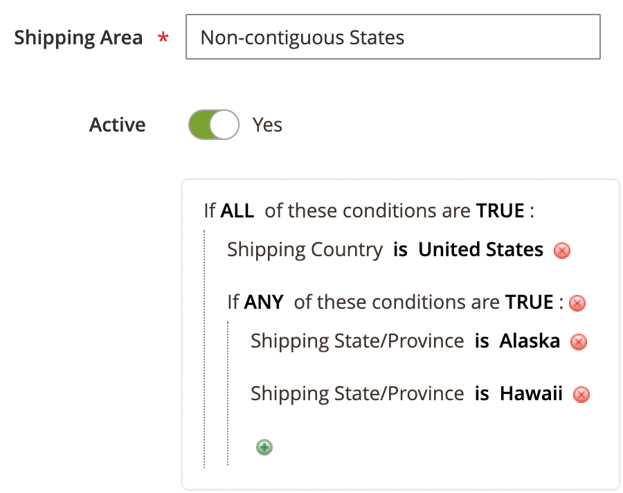 shipping area conditions