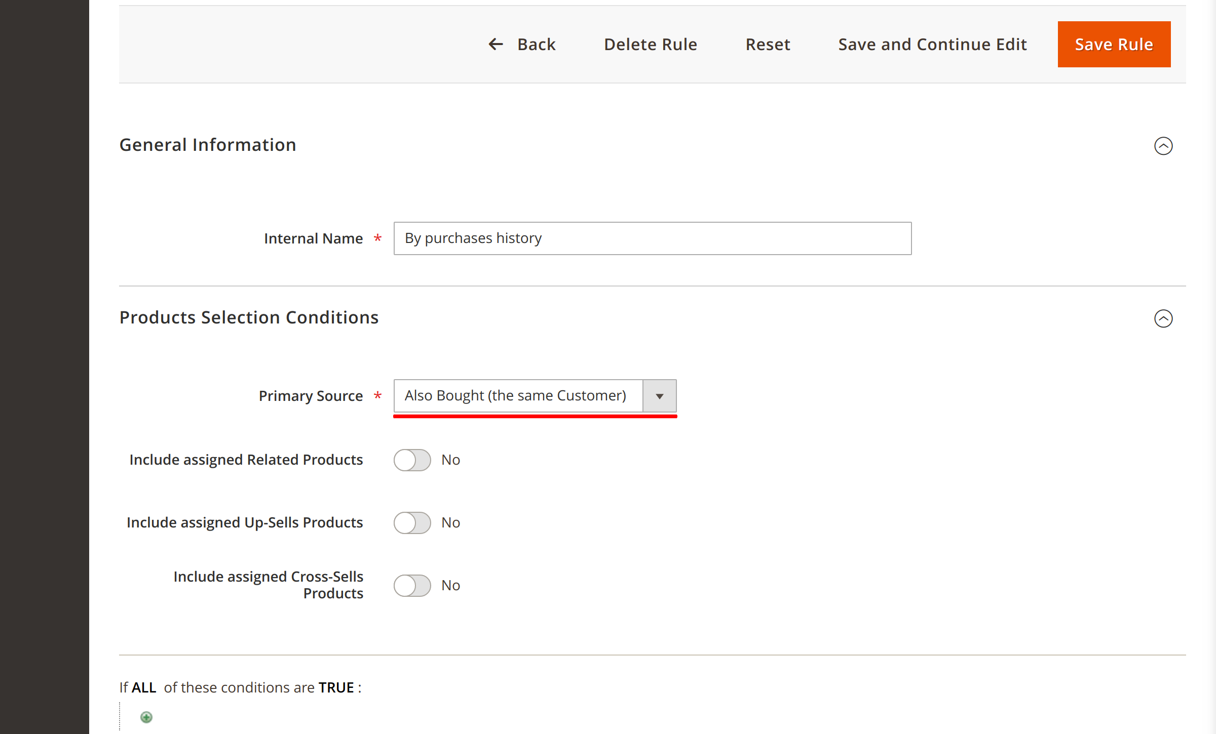 Also Bought content rule in Magento Customers Also Bought