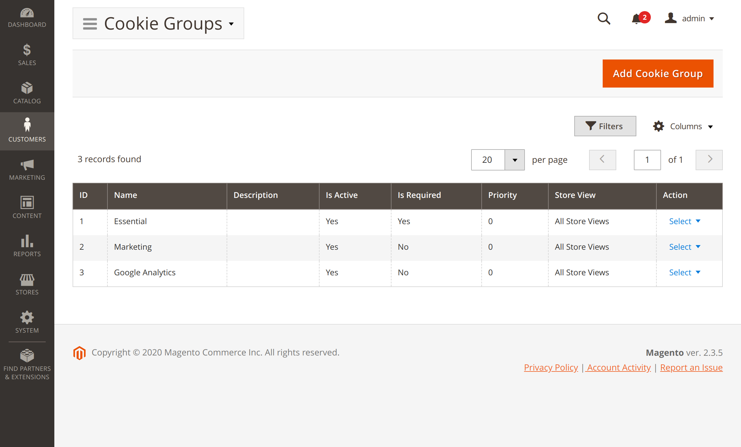 Cookie groups in Magento Cookie Consent