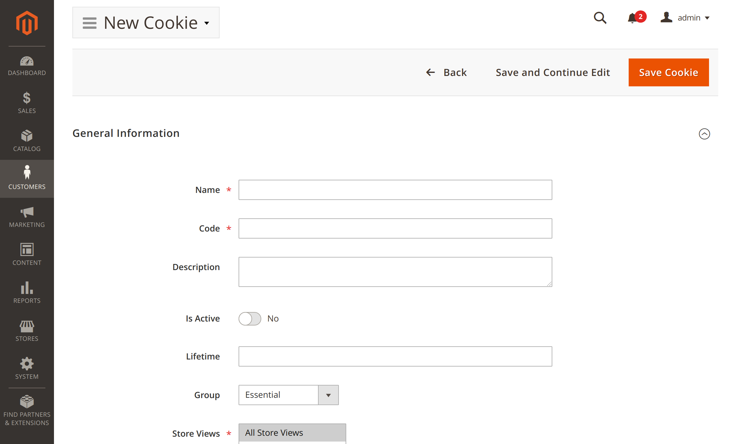 Adding new cookies in Magento Cookie Consent