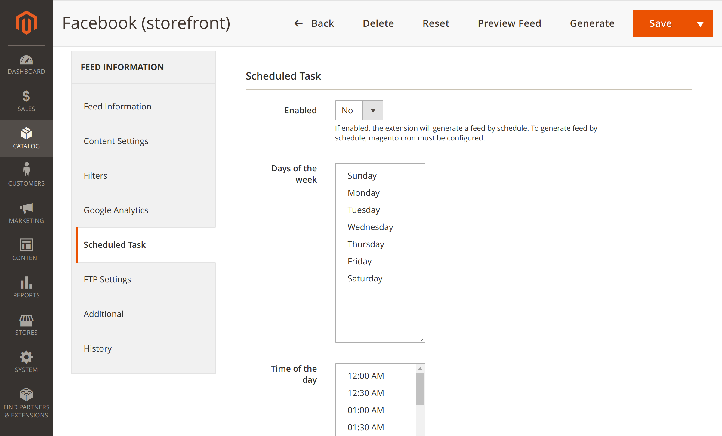 Feed export scheduling in Magento 2 Facebook Feed
