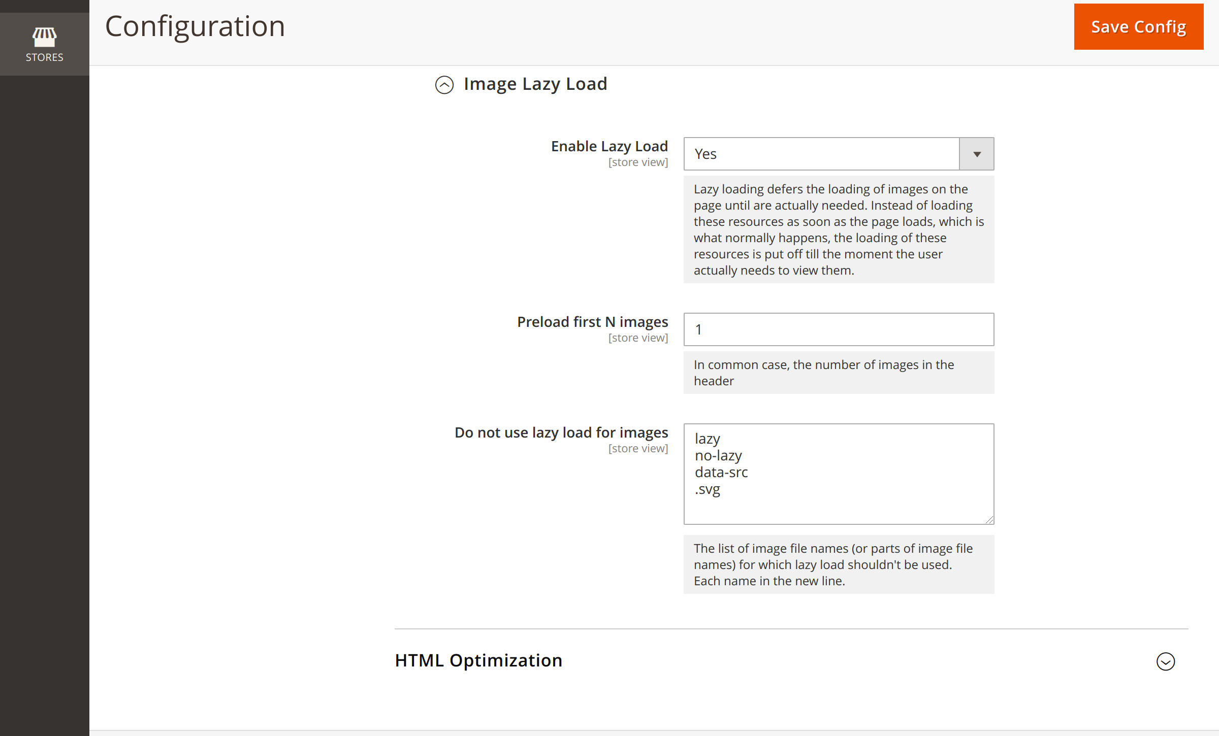 Image lazy loading configuration options in Magento 2 Lazy Load