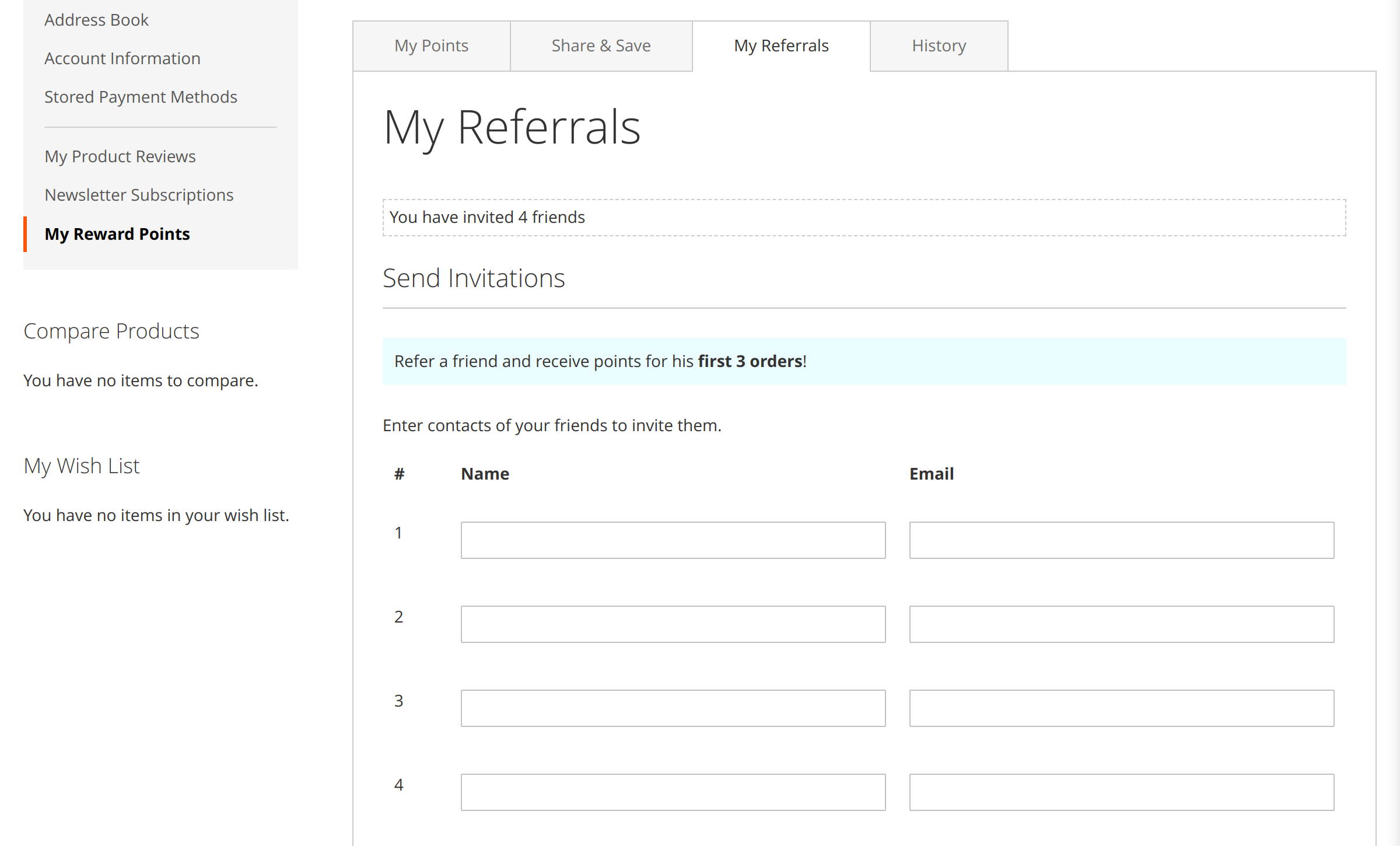 My Referrals tab in Refer a Friend Magento 2 module