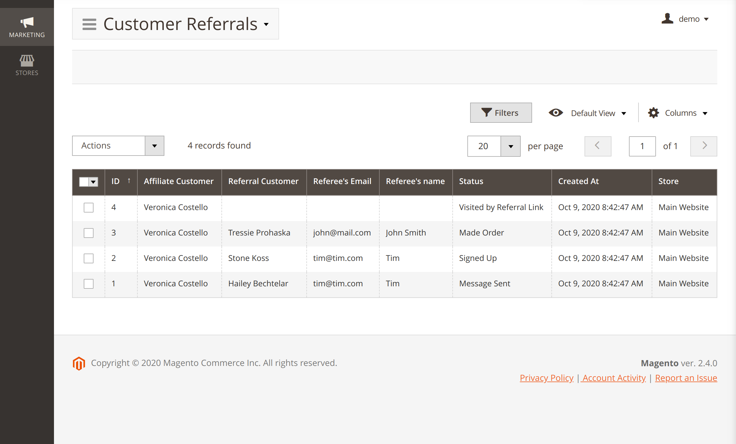 Referred customers in Refer a Friend Magento 2 module