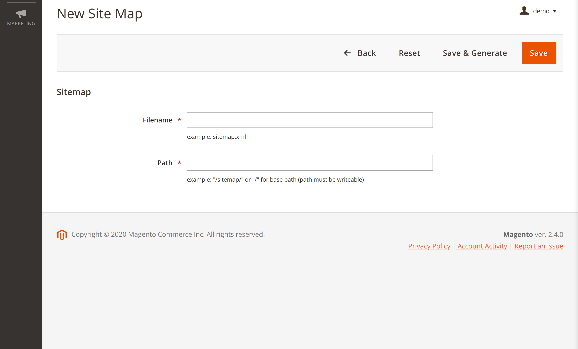 Adding a new sitemap in Magento Google Sitemap extension